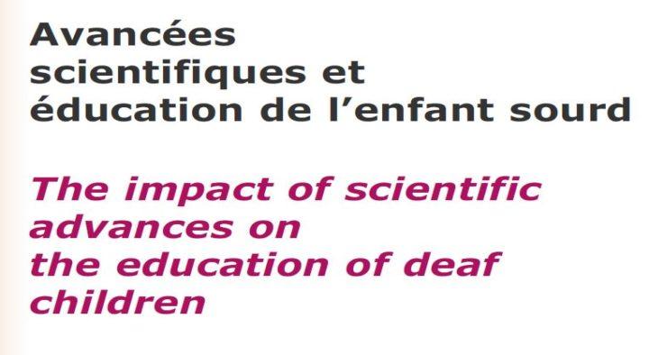 Avancées scientifiques et éducation de l'enfant sourd – 2003