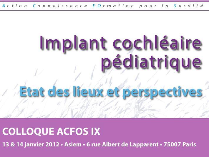 Implant cochléaire pédiatrique – 2012